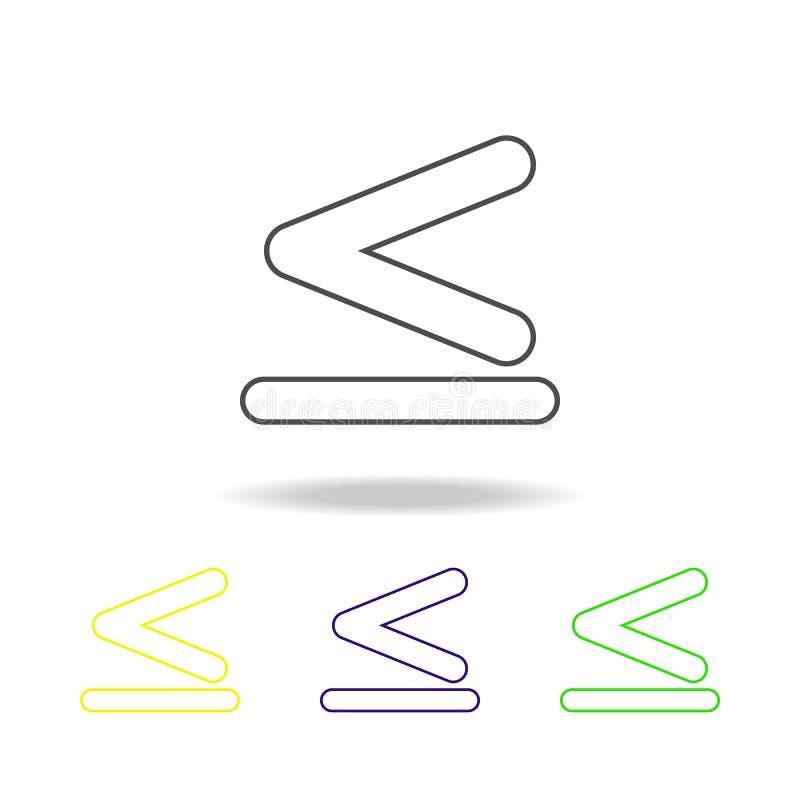 το σημάδι είναι λιγότερο από και ίσος στα πολύχρωμα εικονίδια Λεπτό εικονίδιο γραμμών για το σχέδιο ιστοχώρου και app την ανάπτυξ διανυσματική απεικόνιση