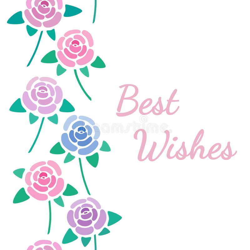 Το σημάδι καλύτερων ευχών με τη διακόσμηση τριαντάφυλλων, που επαναλαμβάνει κάθετα τη διακόσμηση, ανθίζει τη ευχετήρια κάρτα ανθώ απεικόνιση αποθεμάτων