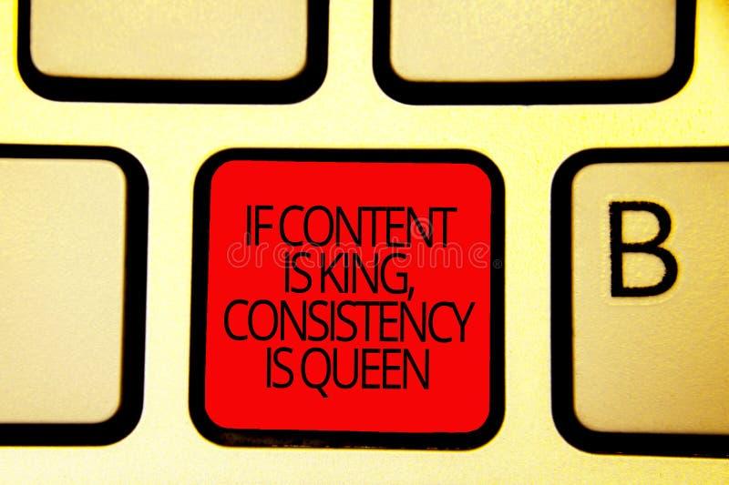 Το σημάδι κειμένων που παρουσιάζει εάν το περιεχόμενο είναι βασιλιάς, συνέπεια είναι βασίλισσα Εννοιολογικό πληκτρολόγιο κόκκινο  στοκ εικόνες με δικαίωμα ελεύθερης χρήσης