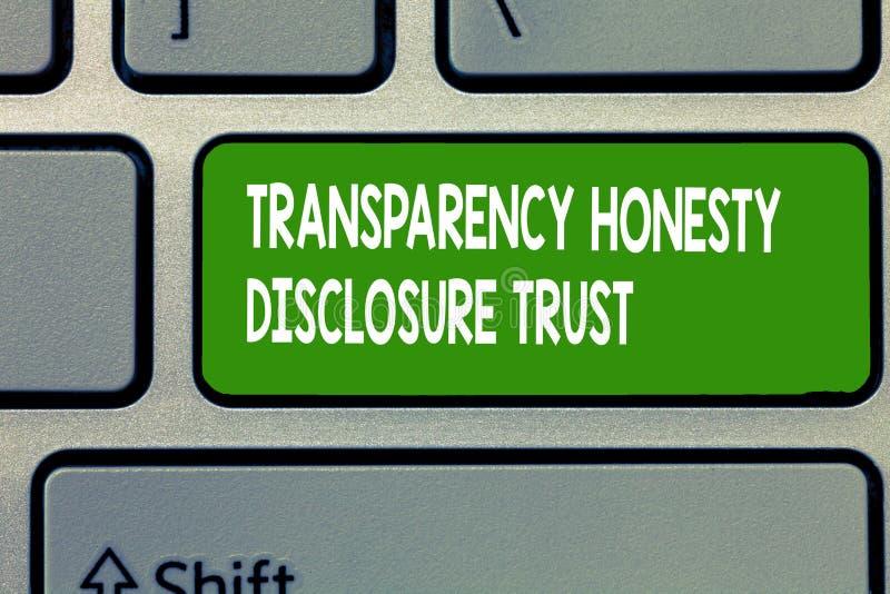 Το σημάδι κειμένων που παρουσιάζει στην εμπιστοσύνη κοινοποίησης τιμιότητας διαφάνειας εννοιολογική πολιτική ατζέντα φωτογραφιών  στοκ εικόνες