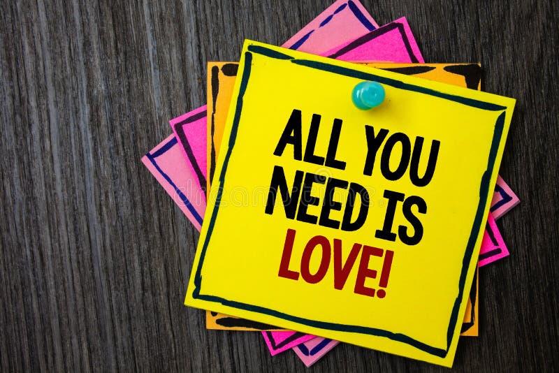 Το σημάδι κειμένων που παρουσιάζει όλων που χρειάζεστε είναι αγάπη κινητήρια Εννοιολογικό ρωμανικό ξύλινο υπόβαθρο εκτίμησης αναγ στοκ φωτογραφία με δικαίωμα ελεύθερης χρήσης
