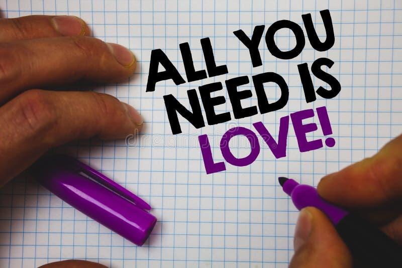 Το σημάδι κειμένων που παρουσιάζει όλων που χρειάζεστε είναι αγάπη κινητήρια Εννοιολογική φωτογραφιών βαθιά αγάπης αναγκών εκμετά στοκ φωτογραφίες