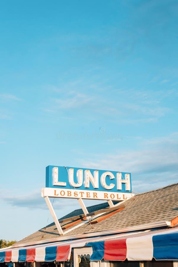 Το σημάδι ρόλων αστακών, σε Montauk, Νέα Υόρκη στοκ φωτογραφίες με δικαίωμα ελεύθερης χρήσης