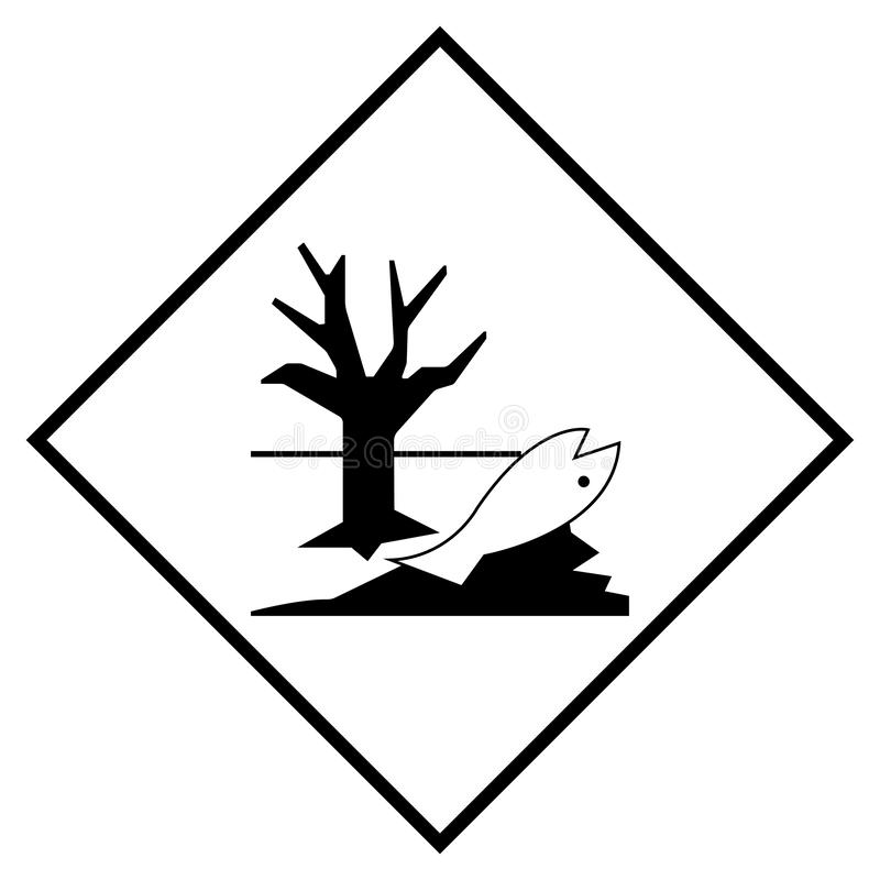 Το σημάδι συμβόλων περιβαλλοντικού κινδύνου, διανυσματική απεικόνιση, απομονώνει στο άσπρο υπόβαθρο, ετικέτα EPS10 ελεύθερη απεικόνιση δικαιώματος