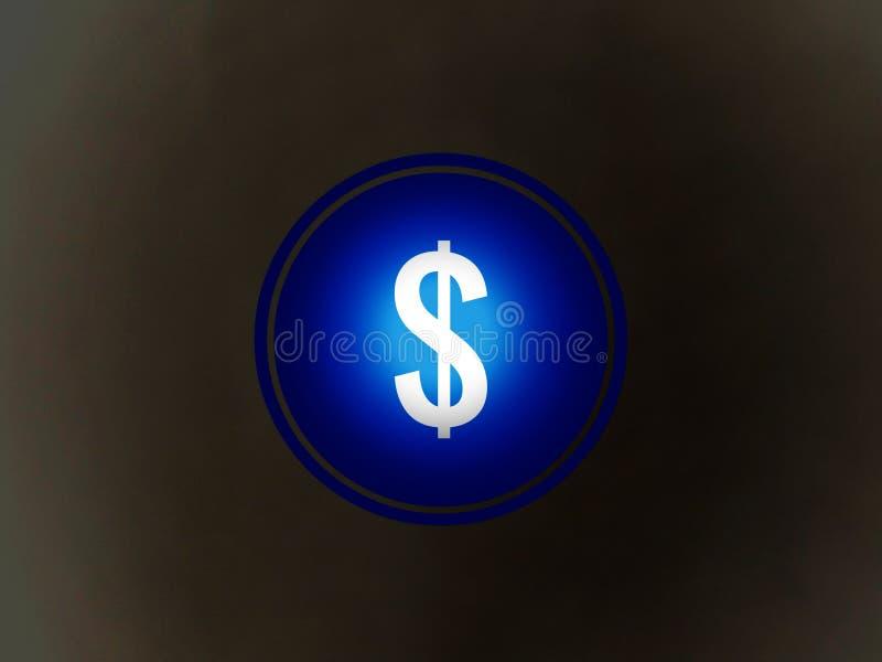 Το σημάδι του δολαρίου στο φωτεινό μπλε υπόβαθρο ελεύθερη απεικόνιση δικαιώματος