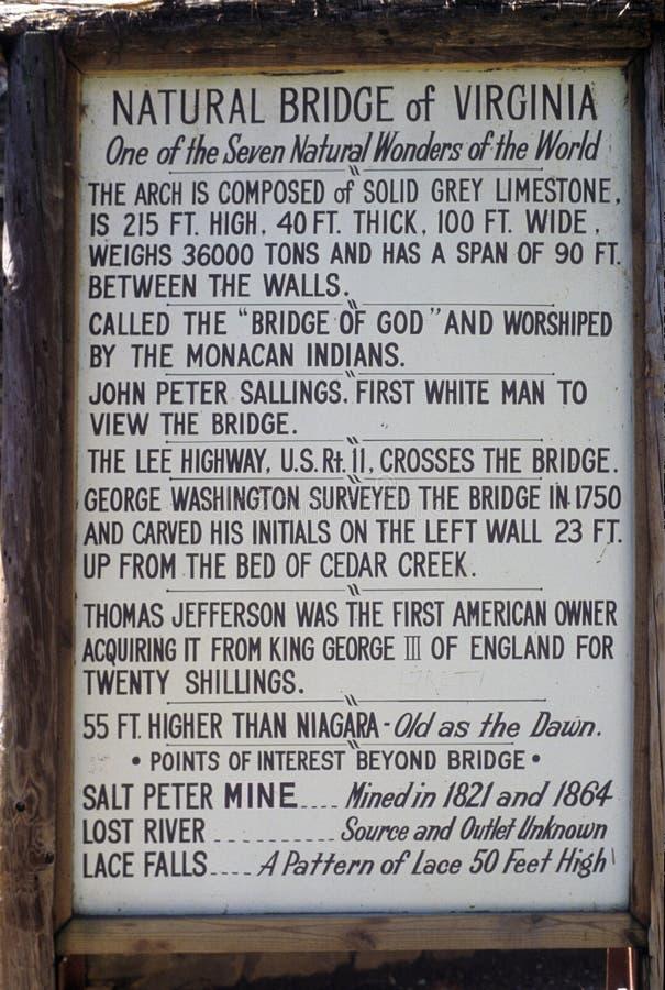 Το σημάδι από τη φυσική γέφυρα VA, ένα από τα 7 αναρωτιέται του κόσμου στοκ εικόνες
