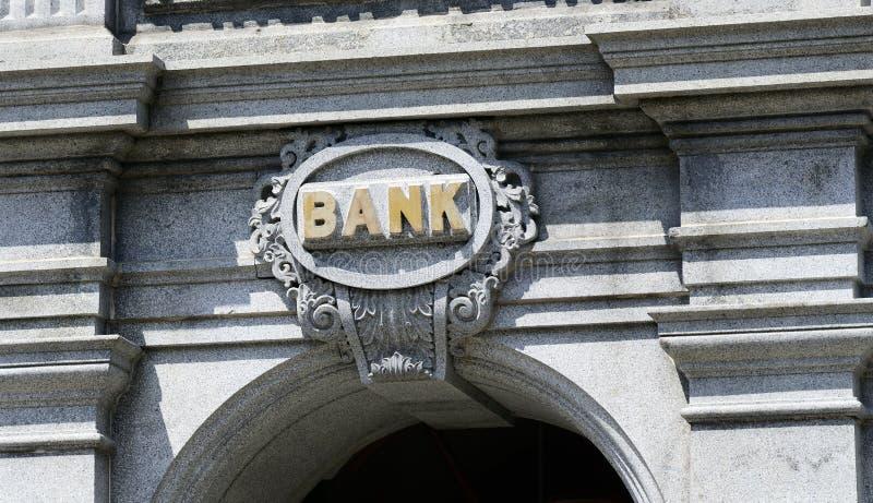 Το σημάδι μιας τράπεζας στοκ φωτογραφίες