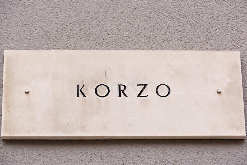 Το σημάδι Korzo, Rijeka, Κροατία οδών στοκ φωτογραφία με δικαίωμα ελεύθερης χρήσης