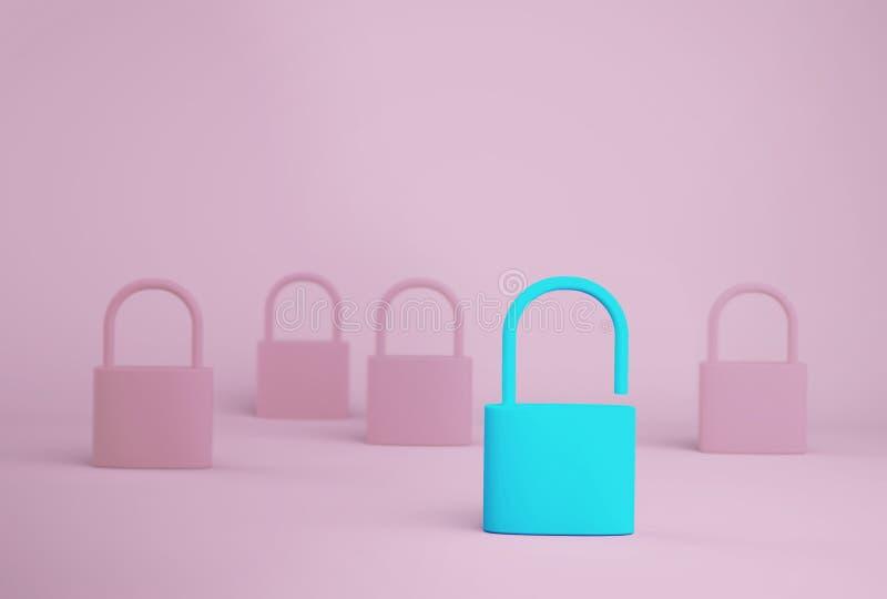Το σημαντικό μπλε κλειδί ξεκλειδώνει τη στάση του ενός διαφορετικού από άλλους στο μπλε υπόβαθρο Επιτυχής έννοια επιχειρησιακών α στοκ εικόνες