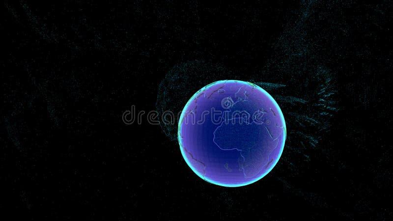 Το σημείο παγκόσμιων χαρτών, γραμμή, συνδέει τη σύνθεση σημείων, που αντιπροσωπεύει τη σύνδεση παγκόσμιων δικτύων, διεθνή Μπλε po διανυσματική απεικόνιση
