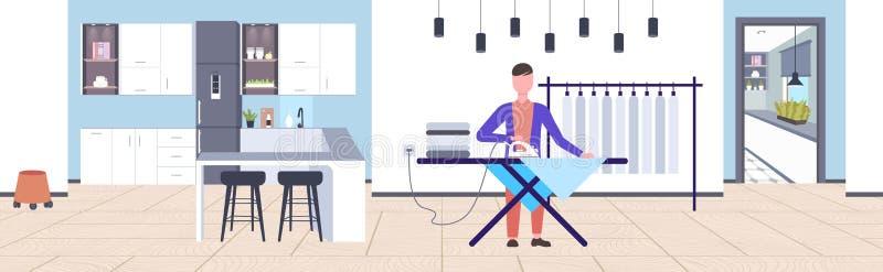 Το σιδέρωμα ατόμων ντύνει τον τύπο χρησιμοποιώντας το σίδηρο που κάνει οικιακών έννοιας το σύγχρονο σύνολο χαρακτήρα κινουμένων σ διανυσματική απεικόνιση