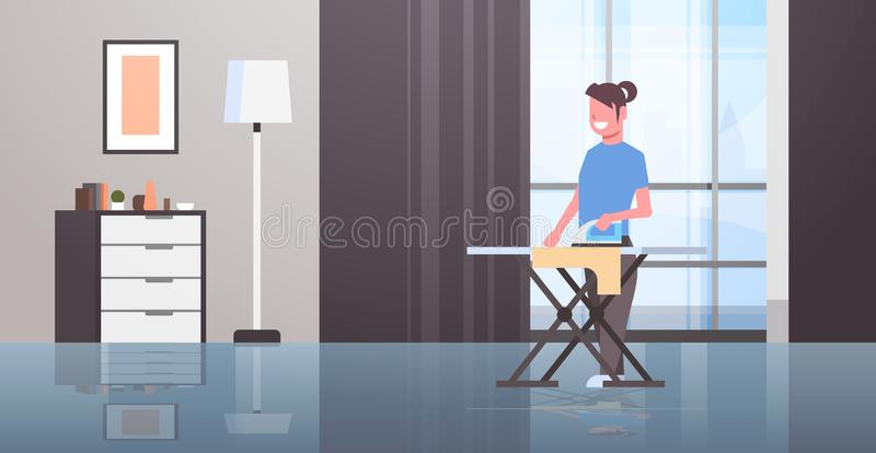 Το σιδέρωμα νοικοκυρών ντύνει το νέο χαμογελώντας κορίτσι σιδήρου εκμ διανυσματική απεικόνιση