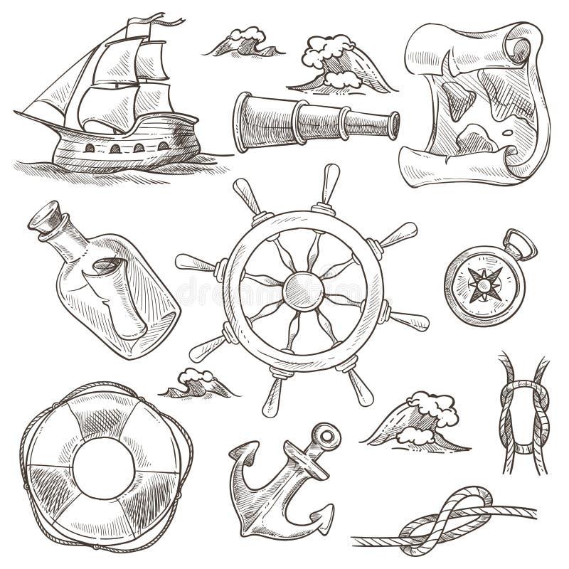 Το σκάφος και η lifebuoy θάλασσα ή ο θαλάσσιοι το πηδάλιο σκίτσων συμβόλων παγκόσμιοι χάρτης και κυλούν απομονωμένους τους διάνυσ διανυσματική απεικόνιση