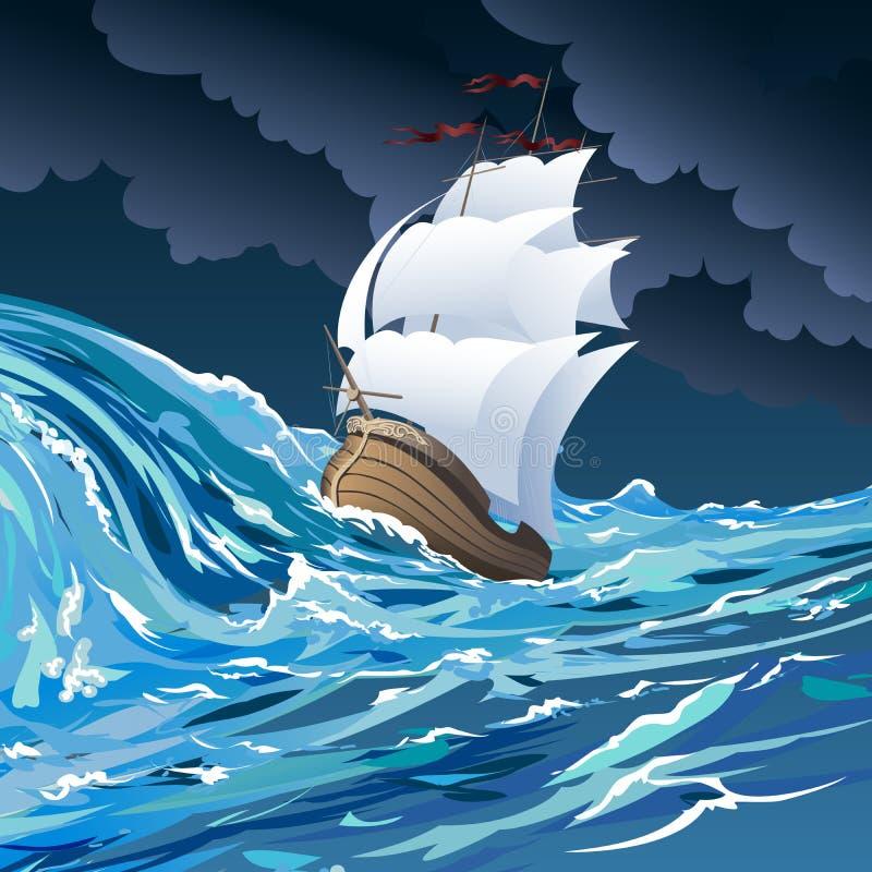 Το σκάφος πανιών διανυσματική απεικόνιση