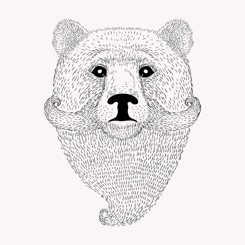 Το σκίτσο αντέχει με μια γενειάδα και moustache Συρμένο χέρι illus διανυσματική απεικόνιση