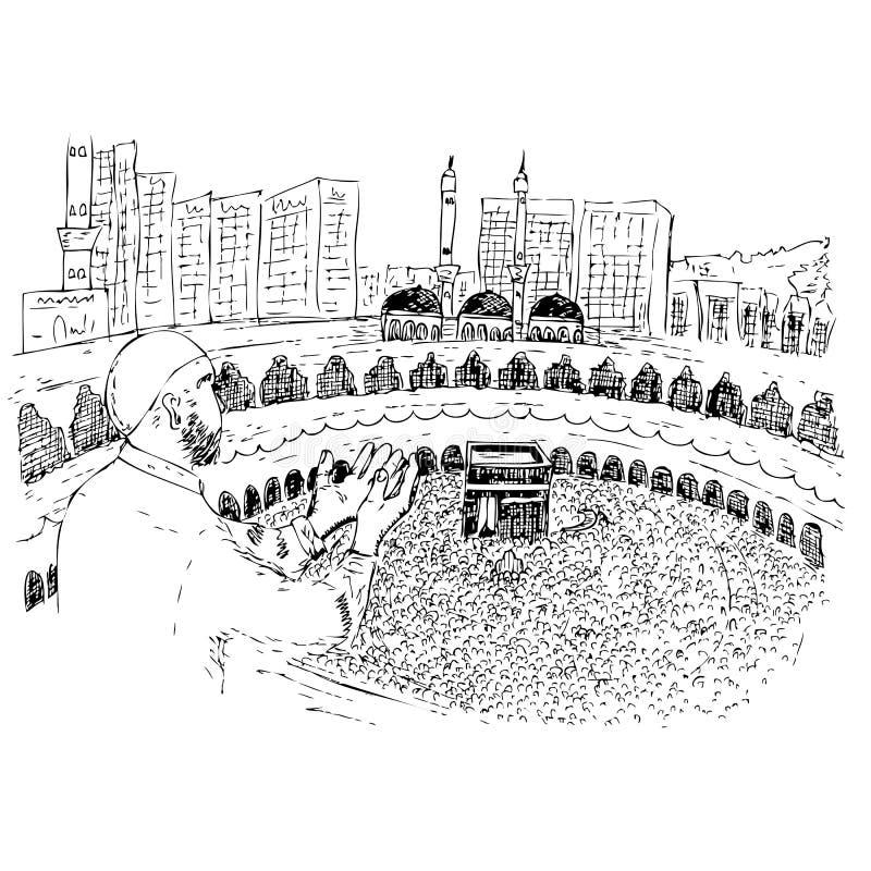 Το σκίτσο μουσουλμάνου, άτομο Ισλάμ προσεύχεται μπροστά από Kaaba στη Μέκκα Σαουδική Αραβία απεικόνιση αποθεμάτων