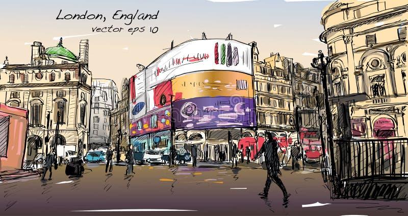 Το σκίτσο σχεδίων εικονικής παράστασης πόλης στο Λονδίνο Αγγλία, παρουσιάζει οδό περιπάτων απεικόνιση αποθεμάτων