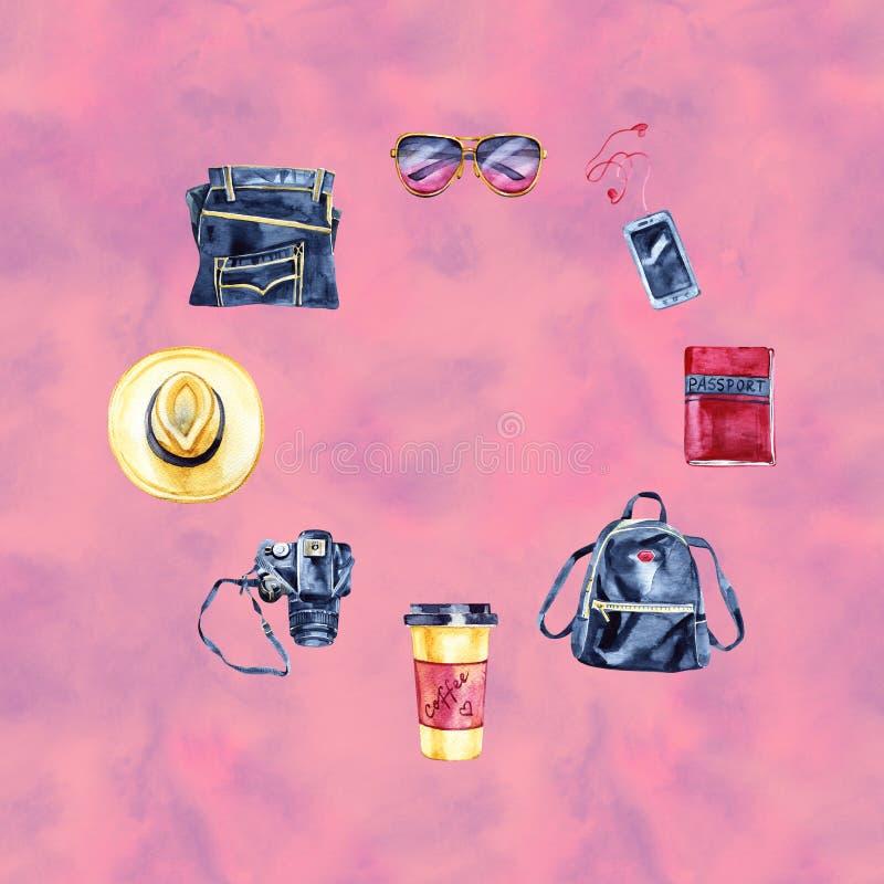 Το σκίτσο του ταξιδιού hipster έθεσε: κάμερα φωτογραφιών, τζιν, γυαλιά, snickers, καπέλο, σακίδιο πλάτης Εκλεκτής ποιότητας ύφος  στοκ εικόνες