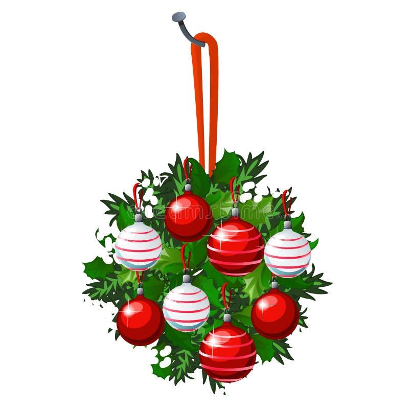 Το σκίτσο Χριστουγέννων με την ένωση του στεφανιού των κλαδίσκων έλατου και των φύλλων της Holly διακόσμησε με τις κόκκινες και ά διανυσματική απεικόνιση