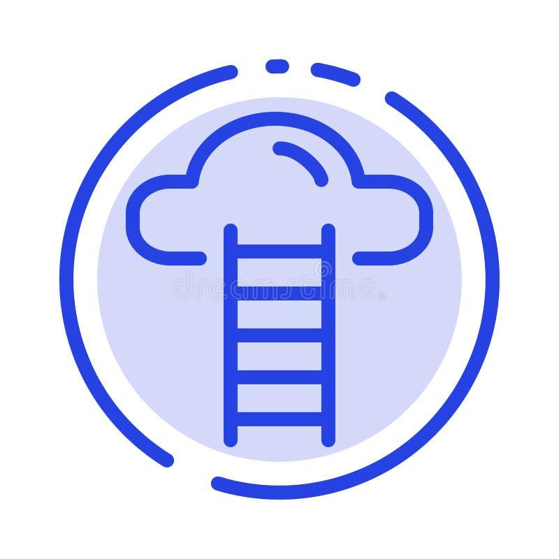 Το σκαλοπάτι, σύννεφο, χρήστης, διασυνδέει το μπλε εικονίδιο γραμμών διαστιγμένων γραμμών απεικόνιση αποθεμάτων