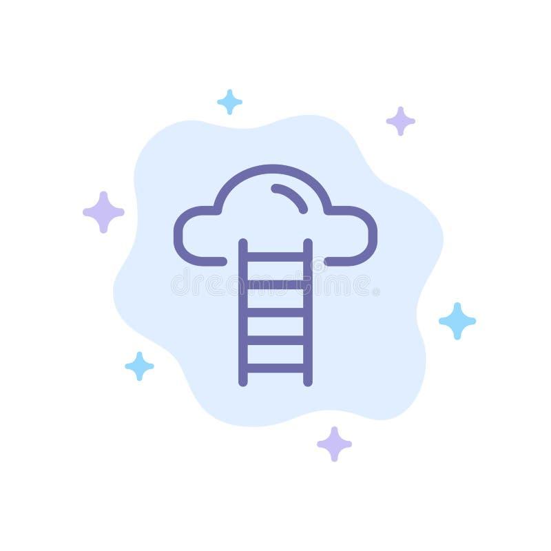 Το σκαλοπάτι, σύννεφο, χρήστης, διασυνδέει το μπλε εικονίδιο στο αφηρημένο υπόβαθρο σύννεφων διανυσματική απεικόνιση