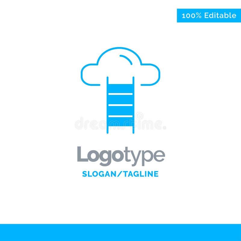 Το σκαλοπάτι, σύννεφο, χρήστης, διασυνδέει το μπλε στερεό πρότυπο λογότυπων r απεικόνιση αποθεμάτων