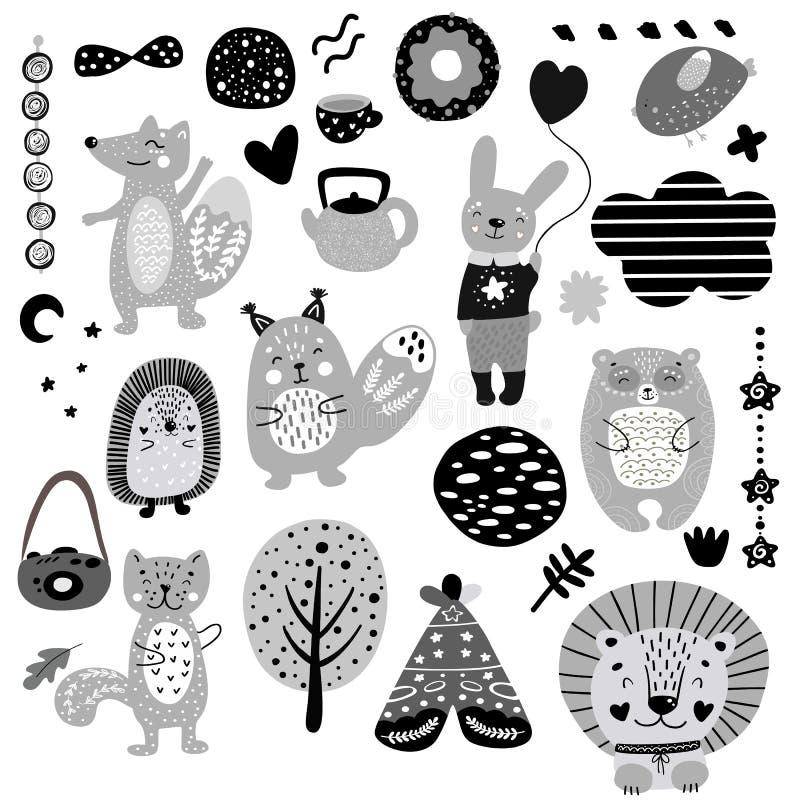 Το Σκανδιναβικό γραπτό μονοχρωματικό σύνολο σχεδίων στοιχείων παιδιών doodles, άγρια συρμένη χέρι αλεπού ζώων, γάτα, κουνέλι, αντ διανυσματική απεικόνιση