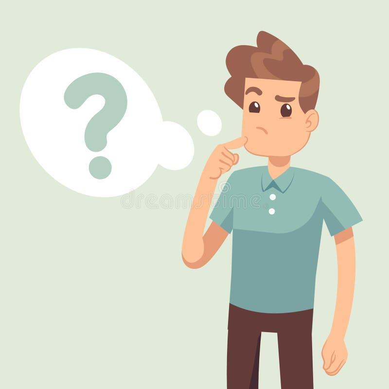 Το σκεπτόμενο άτομο κινούμενων σχεδίων με το ερωτηματικό σκέφτεται μέσα τη διανυσματική απεικόνιση φυσαλίδων ελεύθερη απεικόνιση δικαιώματος