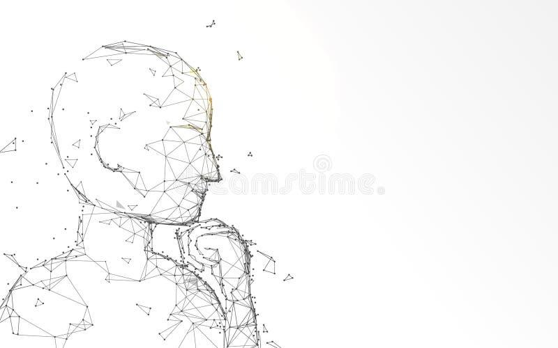 Το σκεπτόμενο άτομο κοιτάζει επάνω στις γραμμές μορφής, τα τρίγωνα και το σχέδιο ύφους μορίων ελεύθερη απεικόνιση δικαιώματος