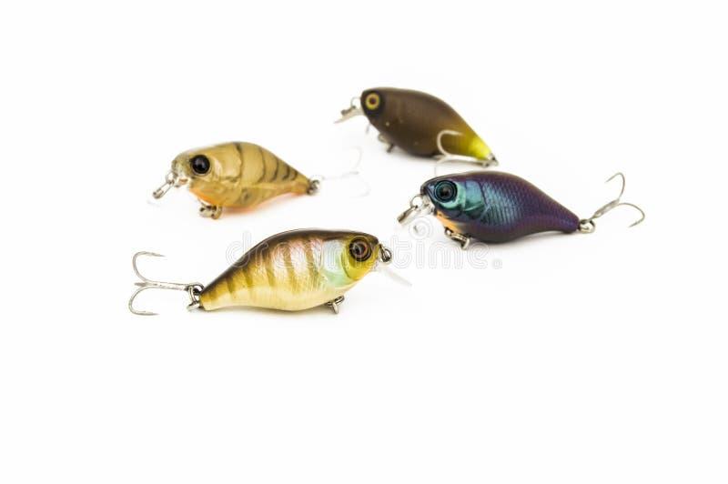 Το σκληρό θέλγητρο δολωμάτων όπως μια αλιεία συνδέει ή crankbaits για την του γλυκού νερού αλιεία, η οποία μιμείται baitfish, με  στοκ φωτογραφία