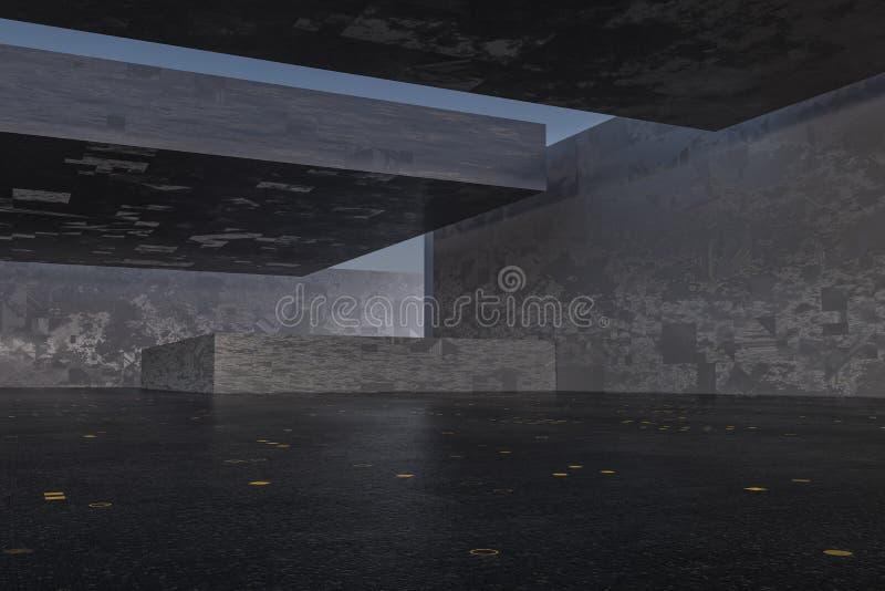 Το σκοτάδι εγκατέλειψε το δωμάτιο, δημιουργική αρχιτεκτονική κατασκευή, τρισδιάστατη απόδοση διανυσματική απεικόνιση