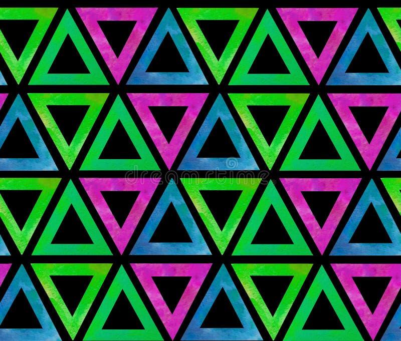 Το σκοτεινό άνευ ραφής σχέδιο κεραμιδιών των γεωμετρικών τριγώνων με μια κενή μέση έκανε στο watercolor σε ένα μαύρο υπόβαθρο διανυσματική απεικόνιση