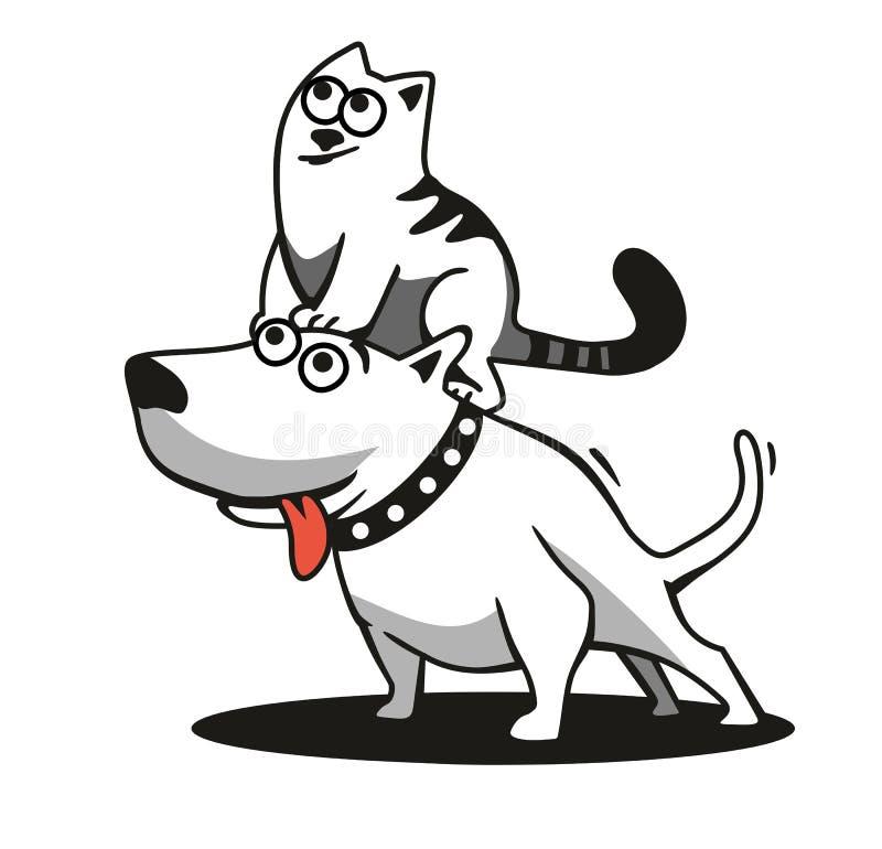 Το σκυλί και η γάτα διανυσματική απεικόνιση
