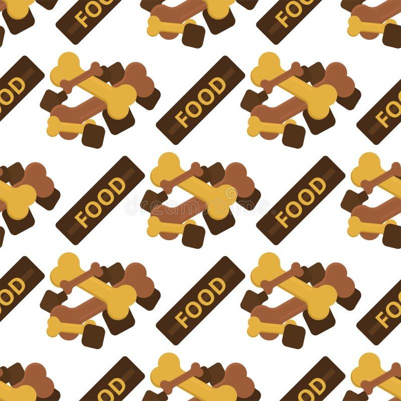 Το σκυλί μασά κόκκαλων προσοχής μπισκότων ζωικών τροφίμων διανυσματική απεικόνιση υποβάθρου σχεδίων κουταβιών την κυνοειδή άνευ ρ απεικόνιση αποθεμάτων
