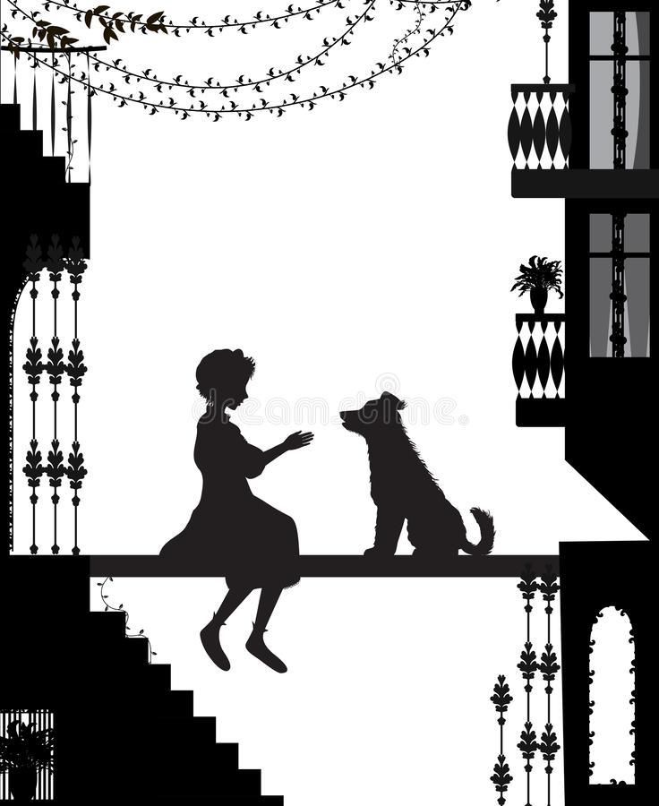 Το σκυλί φίλων μου, σκιαγραφίες σκυλιών και κοριτσιών στην πόλη απεικόνιση αποθεμάτων