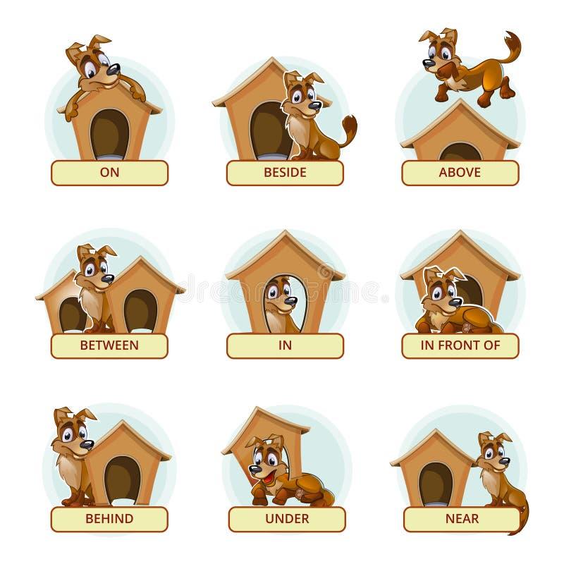 Το σκυλί κινούμενων σχεδίων σε διαφορετικό θέτει για να επεξηγήσει διανυσματική απεικόνιση