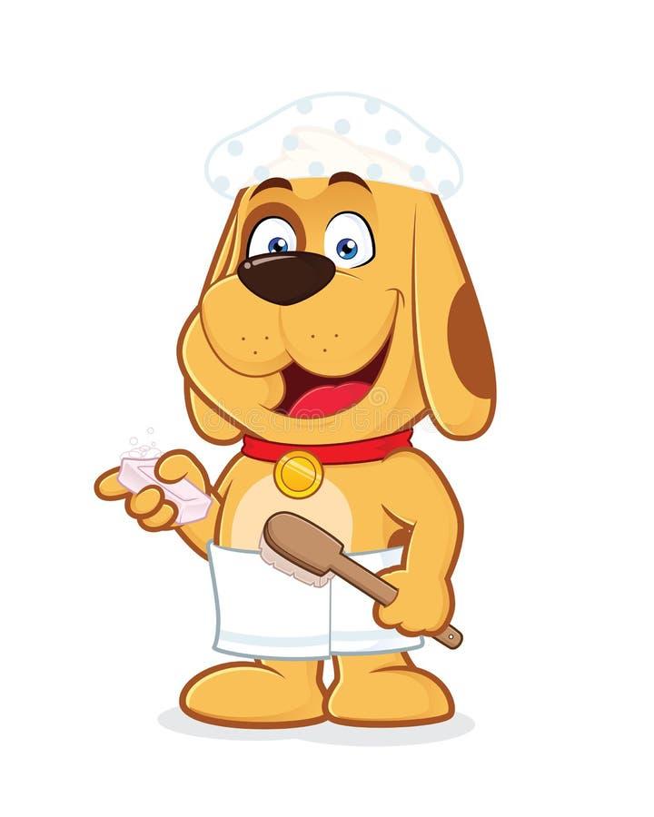 Το σκυλί φορά την πετσέτα και το ντους ΚΑΠ διανυσματική απεικόνιση
