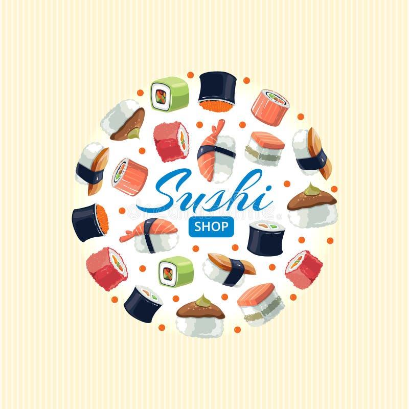 Το σούσι κυλά τα επίπεδα τρόφιμα διανυσματική εικόνα υποβάθρου της στρογγυλής μορφής ελεύθερη απεικόνιση δικαιώματος