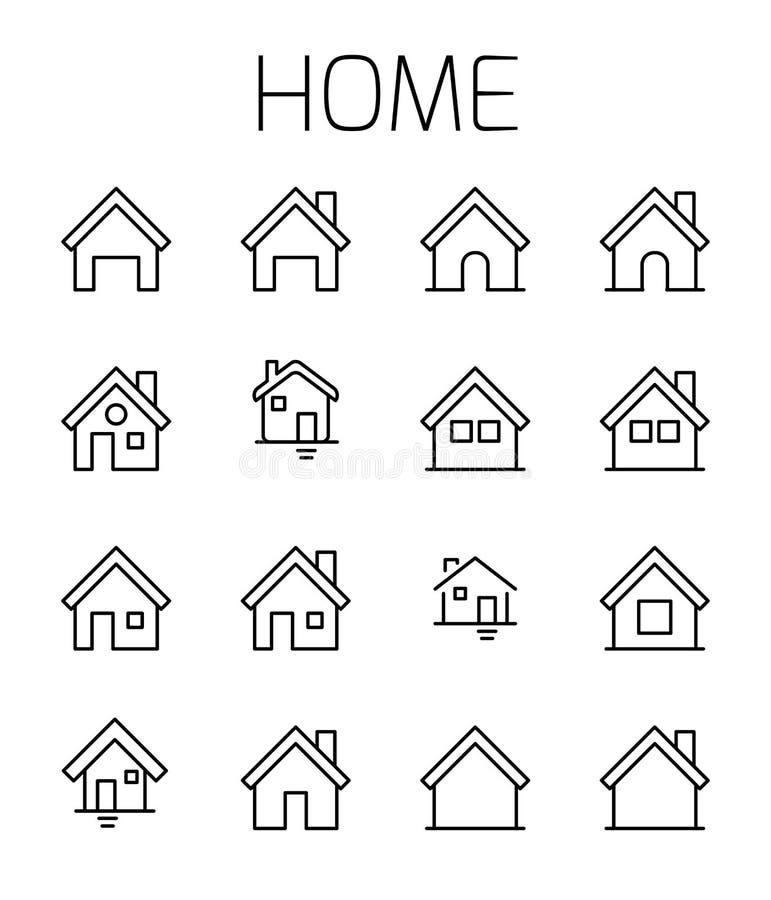 Το σπίτι αφορούσε το διανυσματικό σύνολο εικονιδίων απεικόνιση αποθεμάτων