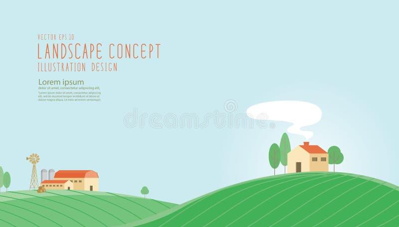 Το σπίτι βρίσκεται στο ανάχωμα Στο αγρόκτημα τομέων απεικόνιση αποθεμάτων