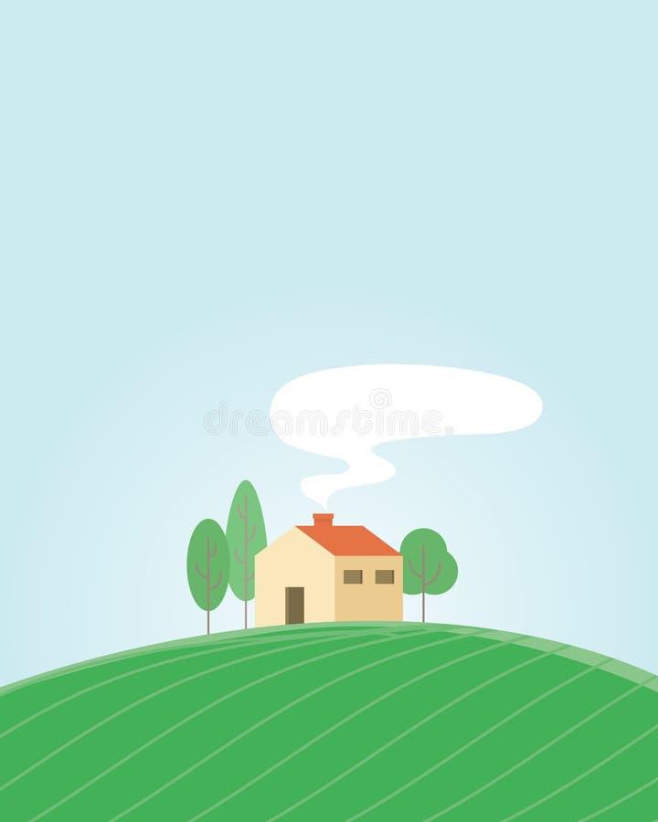 Το σπίτι βρίσκεται στο ανάχωμα ελεύθερη απεικόνιση δικαιώματος