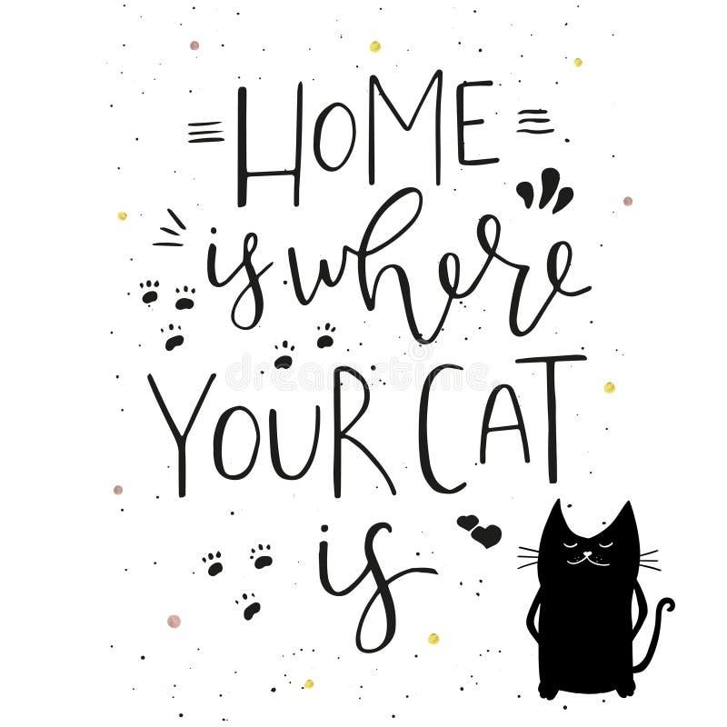 Το σπίτι είναι όπου η γάτα σας είναι - δώστε το συρμένο σχέδιο τυπογραφίας διανυσματική απεικόνιση
