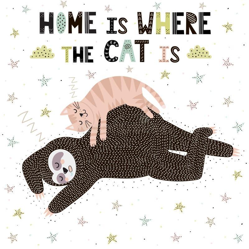Το σπίτι είναι όπου η γάτα είναι Χαριτωμένη τυπωμένη ύλη με μια νωθρότητα ύπνου ελεύθερη απεικόνιση δικαιώματος