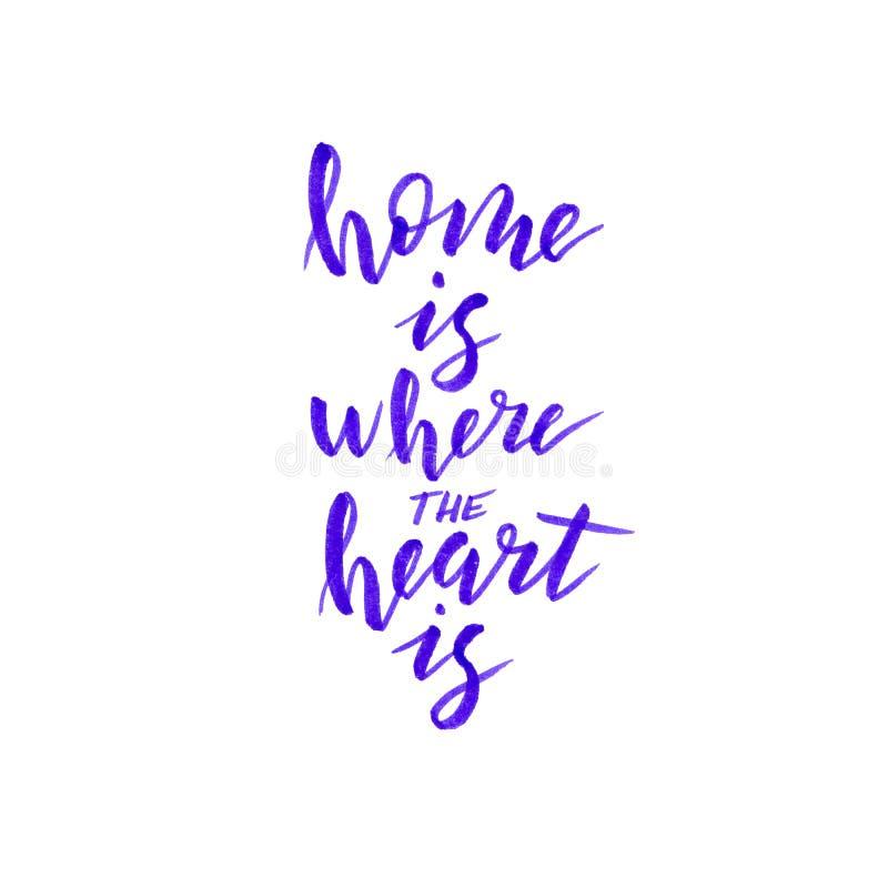 Το σπίτι είναι όπου η καρδιά είναι χειρόγραφη φράση Καθιερώνουσα τη μόδα γράφοντας αφίσα Έμβλημα εγχώριων ντεκόρ διανυσματική απεικόνιση