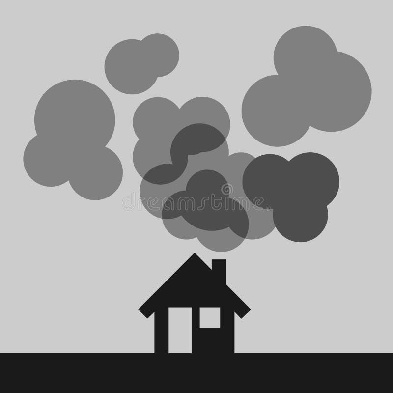 Το σπίτι και η οικογένεια παράγουν την ατμοσφαιρική ρύπανση ελεύθερη απεικόνιση δικαιώματος