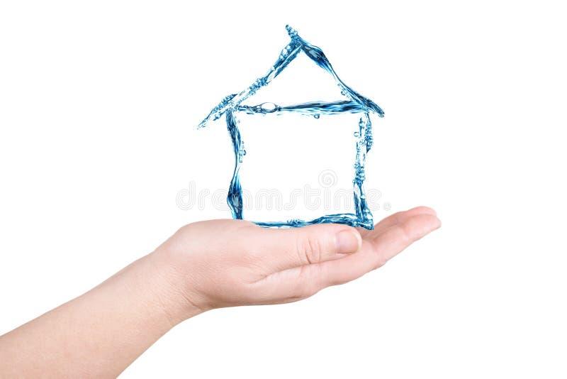 Το σπίτι και το νερό σε έναν φοίνικα. Αριθμοί νερού στοκ φωτογραφία με δικαίωμα ελεύθερης χρήσης