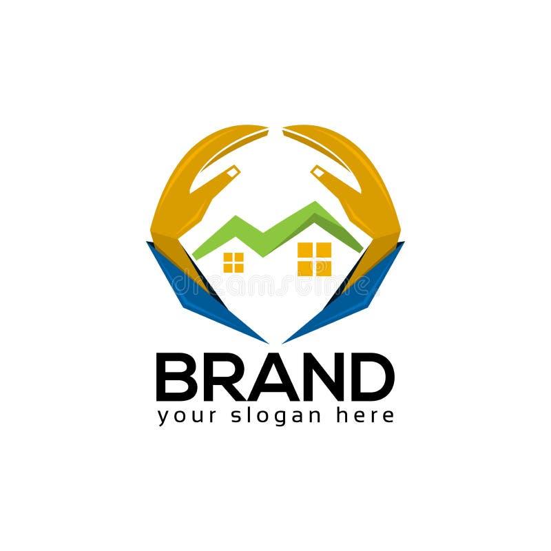 Το σπίτι προστατεύει το πρότυπο λογότυπων, το χέρι και το εικονίδιο λαμπτήρων ελεύθερη απεικόνιση δικαιώματος
