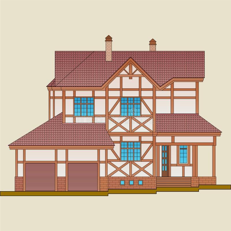 Το σπίτι χτίζεται του φυσικού ξύλινου και επικονιασμένου τούβλου διανυσματική απεικόνιση