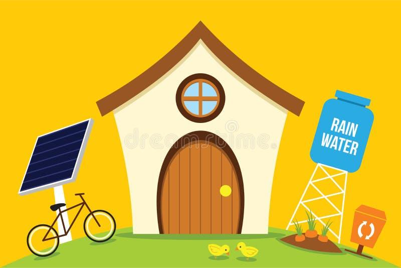 Το σπίτι Eco εκτός από την ενέργεια με πηγαίνει πράσινο διανυσματική απεικόνιση