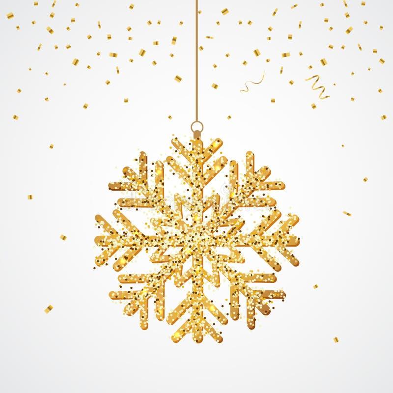 Το σπινθήρισμα ακτινοβολεί χρυσό snowflake απομονωμένος Κρεμώντας Snowflake επίσης corel σύρετε το διάνυσμα απεικόνισης ελεύθερη απεικόνιση δικαιώματος